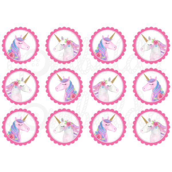 Mintás barkácsfilc - csillogó unikornisok rózsaszín körökben
