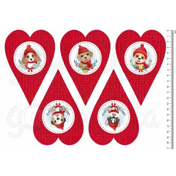 Mintás barkácsfilc - cuki karácsonyi kutyák - kötött szívek