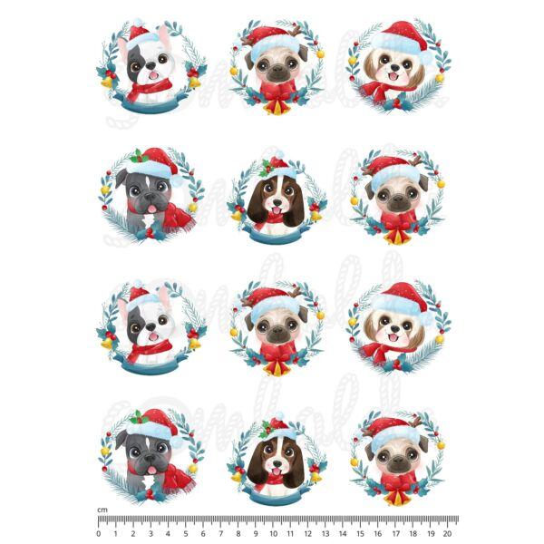 Mintás barkácsfilc - cuki karácsonyi kutyák - koszorú