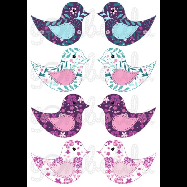 Mintás barkácsfilc - kivágható madarak lilás virágos