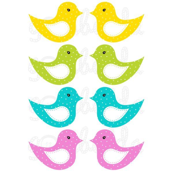 Mintás barkácsfilc - kivágható madarak színes alapon fehér pöttyös