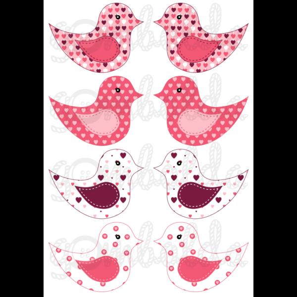 Mintás barkácsfilc - kivágható madarak rózsaszín szíves