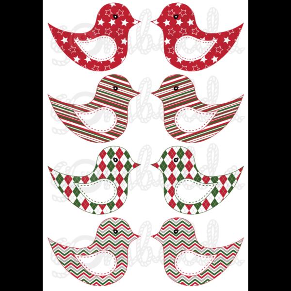 Mintás barkácsfilc - kivágható karácsonyi madarak geometriai mintás