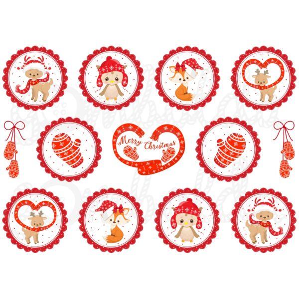 Mintás barkácsfilc - erdei karácsony - piros körök