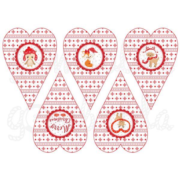 Mintás barkácsfilc - erdei karácsony - piros szívek