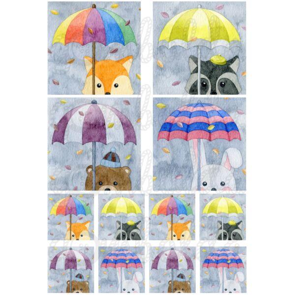 Mintás barkácsfilc - esernyős állatok