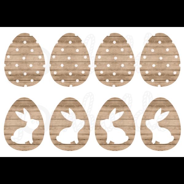 Mintás barkácsfilc - nyuszik világosbarna fa tojásokon
