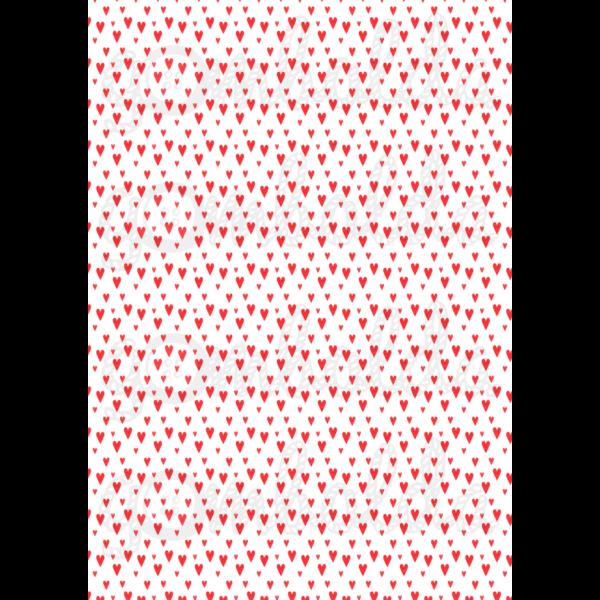Mintás barkácsfilc - fehér alapon piros szívek
