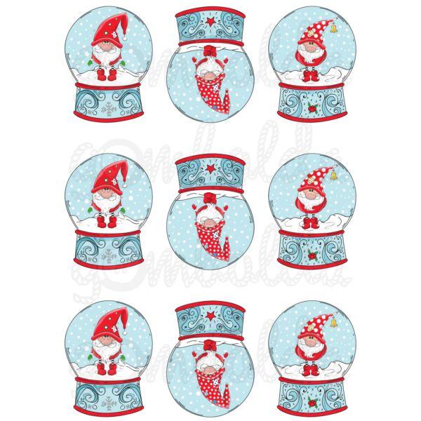 Mintás barkácsfilc - karácsonyi manók hógömbökben