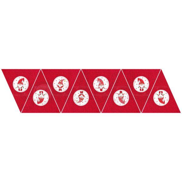 Banner mintás barkácsfilc - piros kötött manók