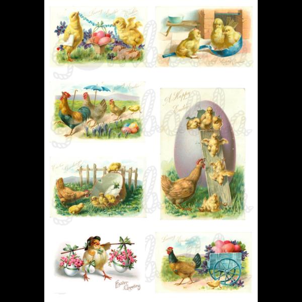 Mintás barkácsfilc - húsvéti üdvözletek tyúkokkal