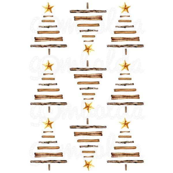 Mintás barkácsfilc - tradicionális karácsony - fenyők fahéjból