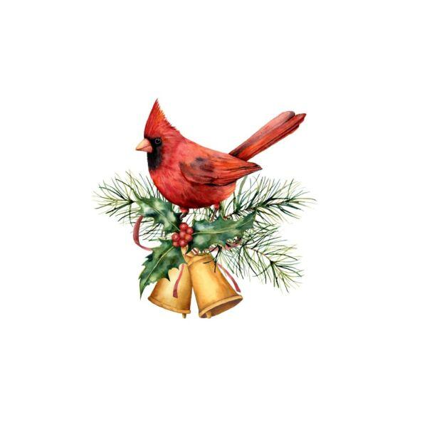 Mintás barkácsfilc - tradicionális karácsony - kardinálispinty hímzőkeretbe