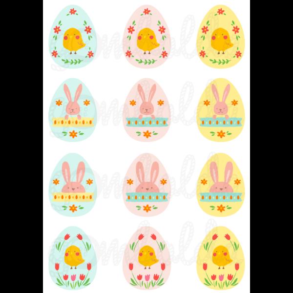 Mintás barkácsfilc - színes  húsvéti tojások csibékkel