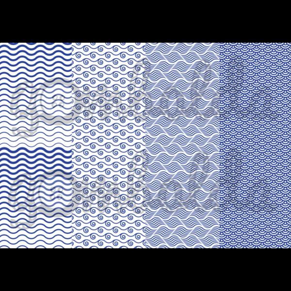 Mintás barkácsfilc - kék hullámok