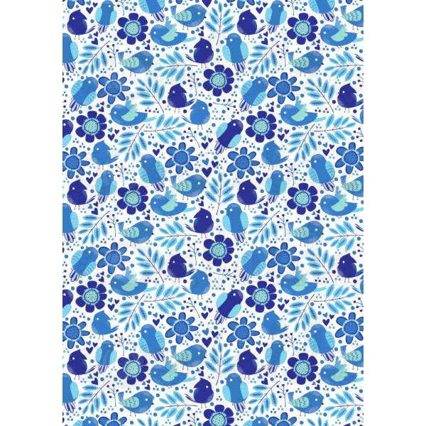 Mintás barkácsfilc - kék madárkák