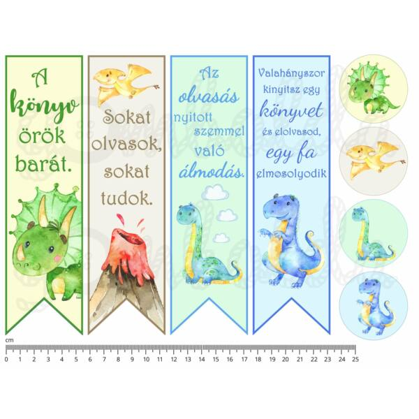 Mintás barkácsfilc - könyvjelző - Dinosaurs