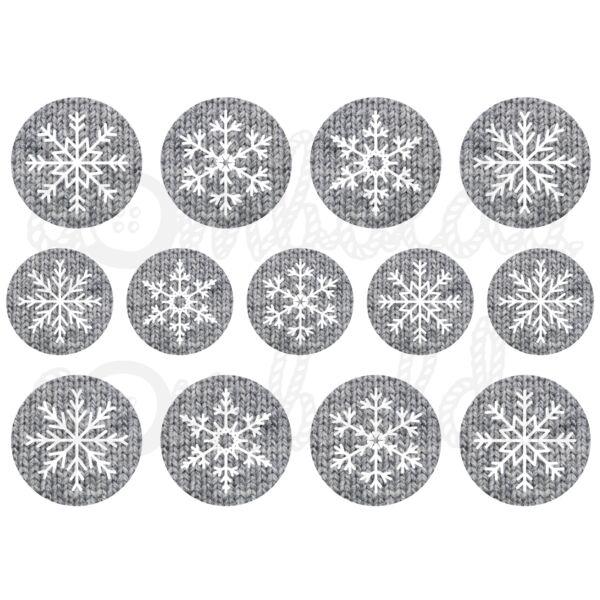 Mintás barkácsfilc - hópelyhek kötött körökben - szürke