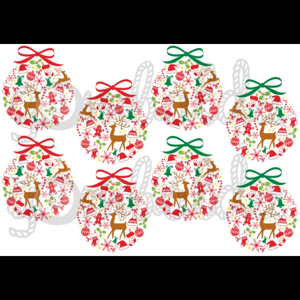 Mintás barkácsfilc - karácsonyi gömbök - színes