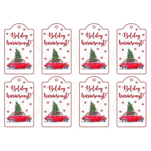 Mintás barkácsfilc - karácsonyi piros autó - ajándékkísérő kártyák