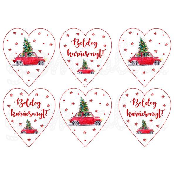 Mintás barkácsfilc - karácsonyi piros autó szívekben