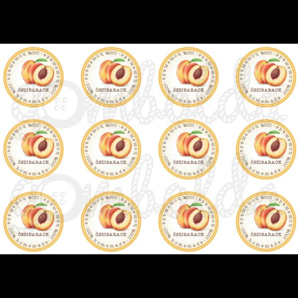 Befőző címke mintás barkácsfilc - őszibarack - 60mm