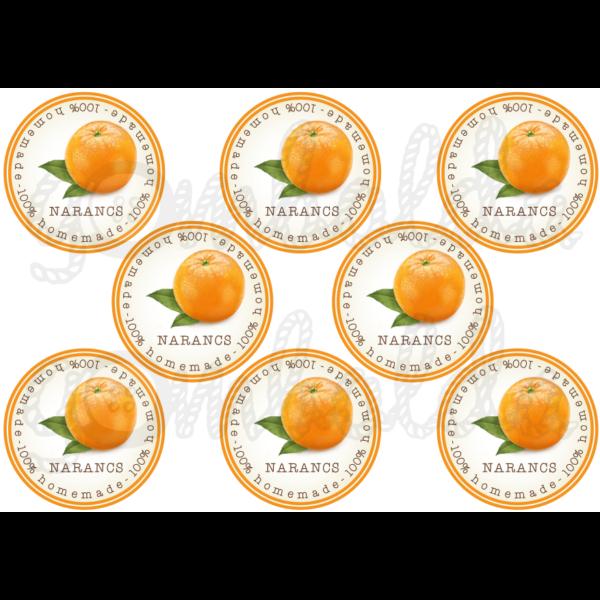 Befőző címke mintás barkácsfilc - narancs - 80mm