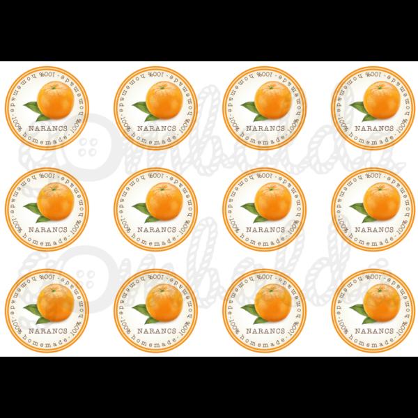 Befőző címke mintás barkácsfilc - narancs - 60mm