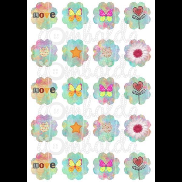 Mintás barkácsfilc - Love pillangók virágok