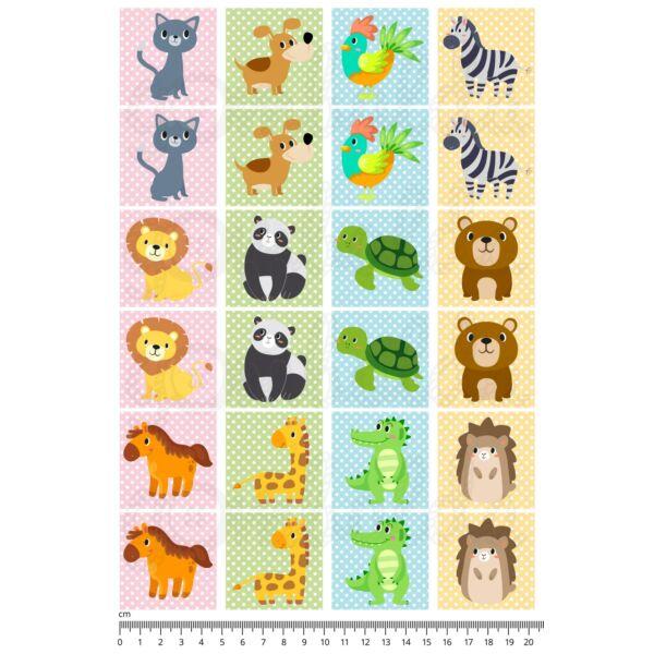 Mintás barkácsfilc - memória játék alap - vegyes állatok