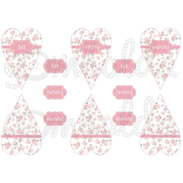 Mintás barkácsfilc - mini szívek - hit remény szeretet - rózsás