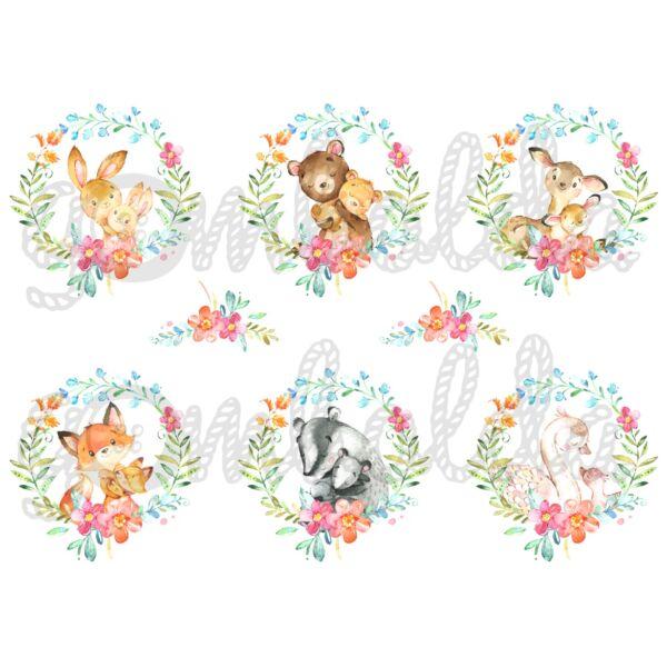 Mintás barkácsfilc - Mother and Baby virágos koszorúkban