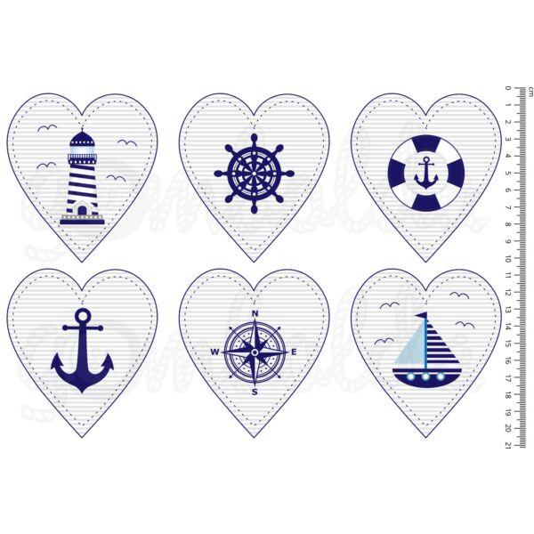 Mintás barkácsfilc - navy - szívek