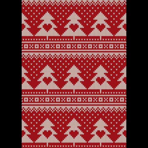 Mintás barkácsfilc - norvég kötött - piros szíves fenyők hópelyhek