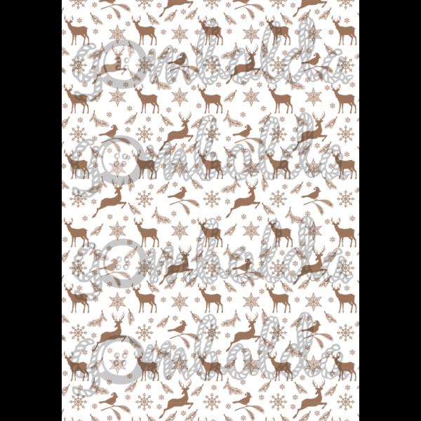 Mintás barkácsfilc - rénszarvasok madarakkal - barna