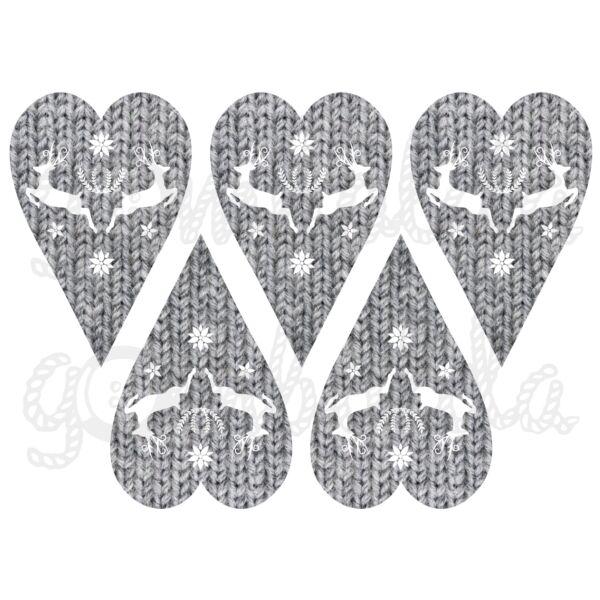 Mintás barkácsfilc - rénszarvasok kötött szívekben - szürke
