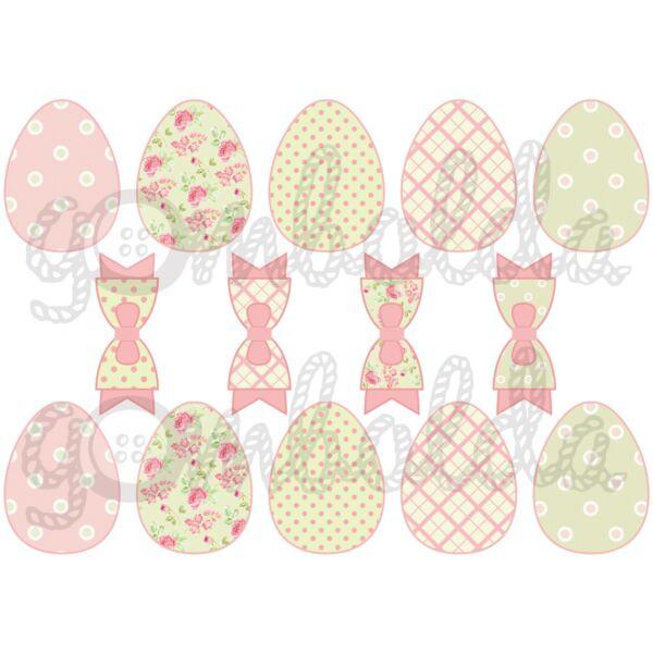 Mintás barkácsfilc - rózsás pöttyös húsvéti tojások és masnik