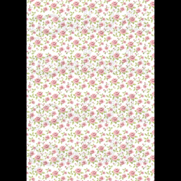 Mintás barkácsfilc - apró rózsaszín rózsák