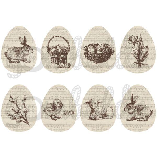 Mintás barkácsfilc - rajzolt húsvét kottás tojásokon