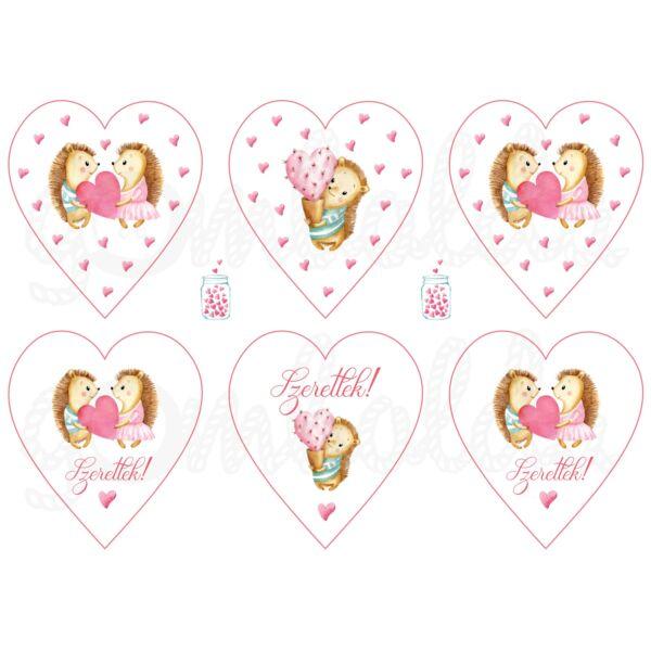Mintás barkácsfilc - süni szerelem - szív