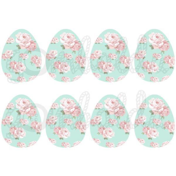 Mintás barkácsfilc - shabby chic rózsás tojások - menta