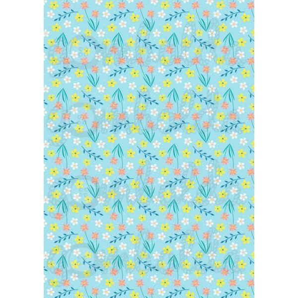 Mintás barkácsfilc - tavaszi virágos minta - kék alapon
