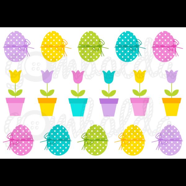Mintás barkácsfilc - pöttyös tojások és tulipánok