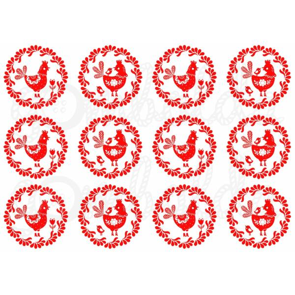 Mintás barkácsfilc - piros fehér tyúkocskák körökben