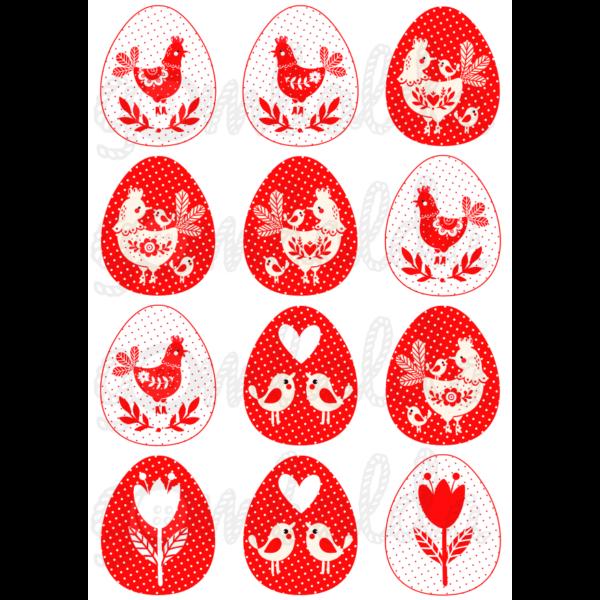 Mintás barkácsfilc - piros fehér tyúkocskák tojásokban