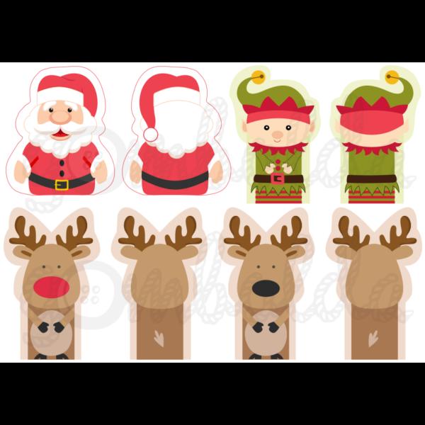Mintás barkácsfilc - karácsonyi ujjbábok - Mikulással