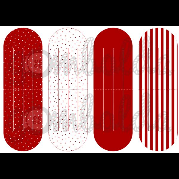 Mintás barkácsfilc - szív dísz alap - piros pöttyös csíkos