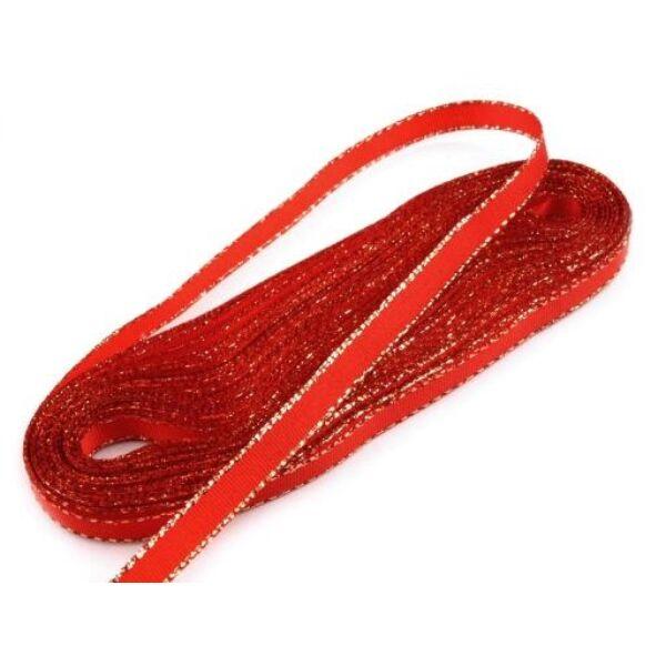 Taft szalag arany lurex szegéllyel - 6mm - 10m - piros