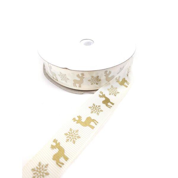 Rénszarvas mintás ripsz szalag - arany/krém - 20mm