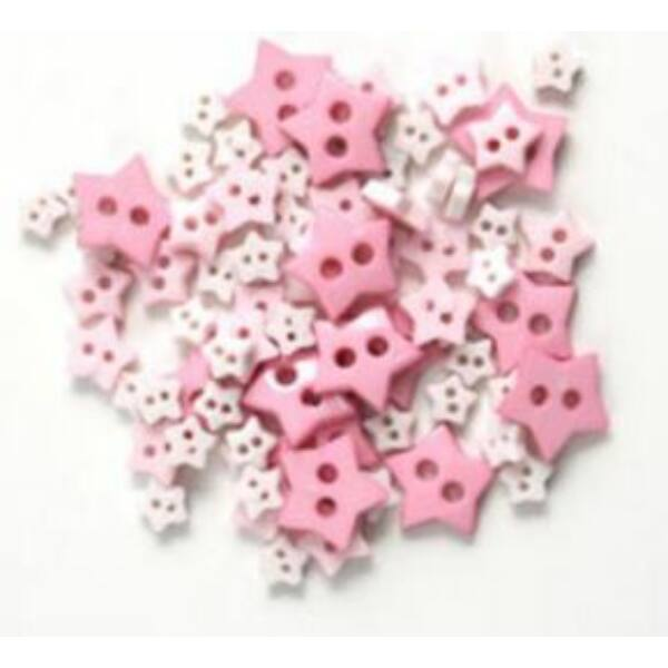Csillag formájú mini gombok - rózsaszín